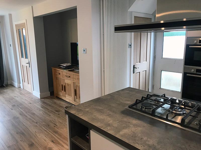 Kitchen refurbishment cooker and lounge